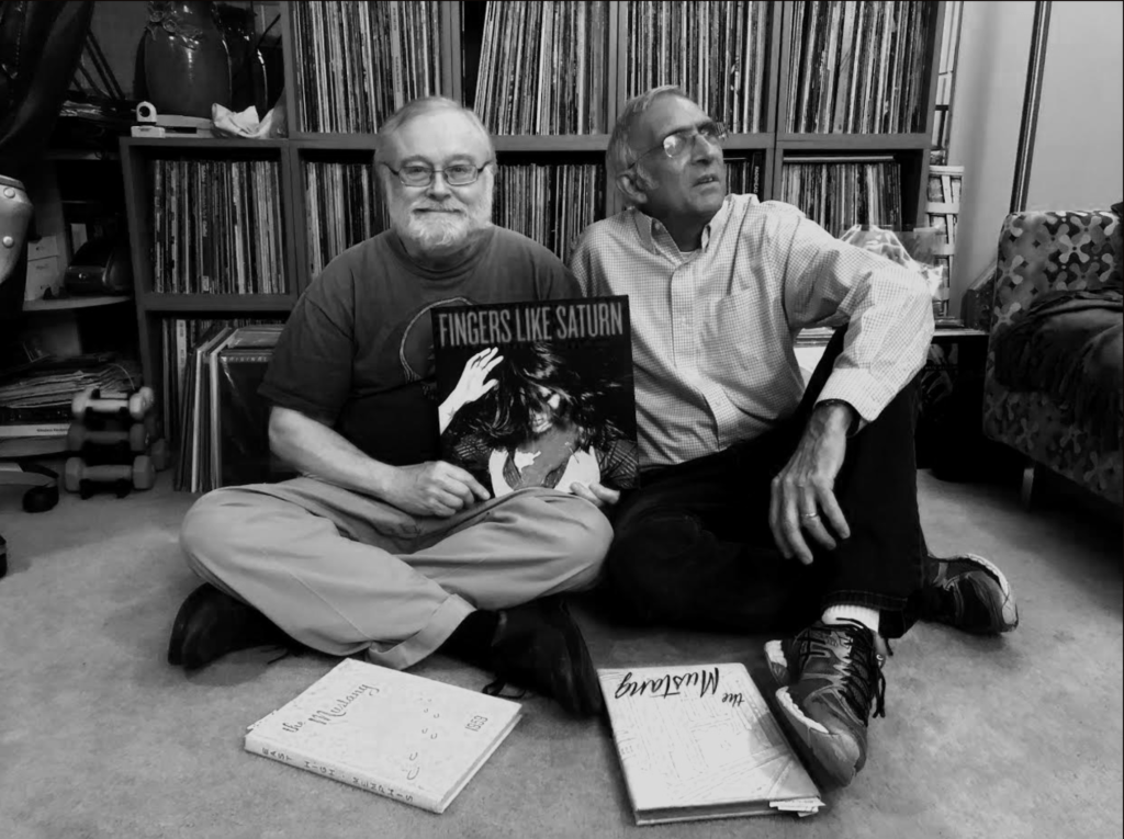 Robert Wyatt and Dennis Black of Black & Wyatt Records holding the Fingers Like Saturn vinyl record - friends of From the Bottom the Record Box